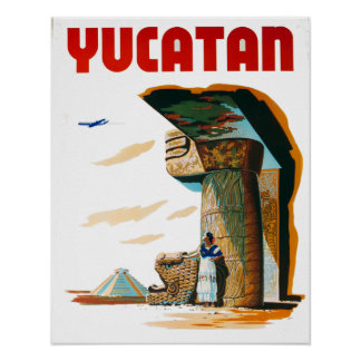 Vintage Yucatan Mexico Travel Poster