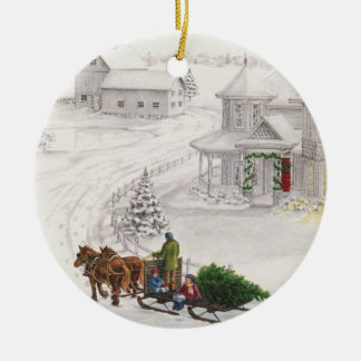 Vintage Yule Ceramic Ornament