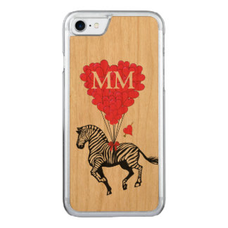 vintage Zebra and love heart Carved iPhone 7 Case