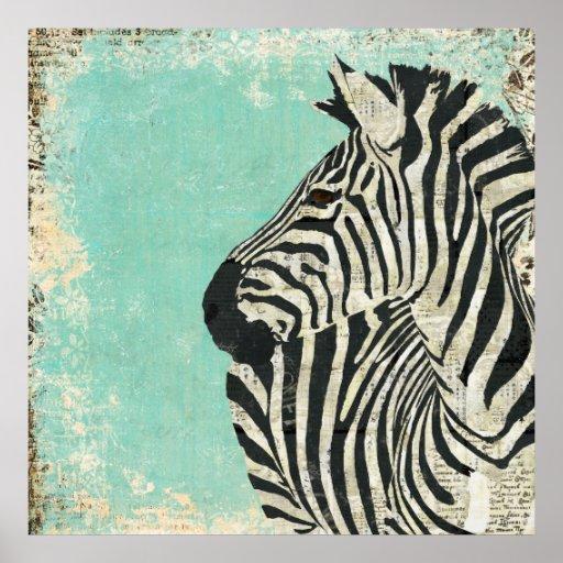 Vintage Zebra Blue Art Poster