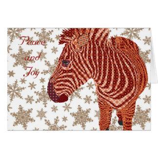 Vintage Zebra Christmas Greeting Greeting Card