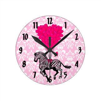 Vintage zebra & pink heart on damask wall clock