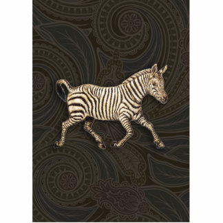 Vintage zebra running with paisley design acrylic cut outs