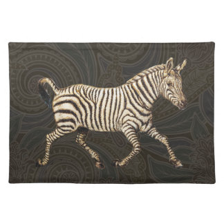 Vintage zebra running with paisley design placemat