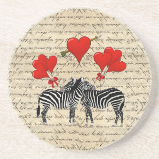 Vintage zebras and heart drink coasters