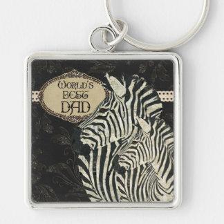 Vintage Zebras  Best Dad Keychain