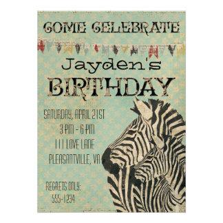 Vintage Zebras Stars Birthday Invitation