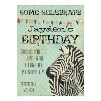 Vintage Zebras Stars Birthday Invitation