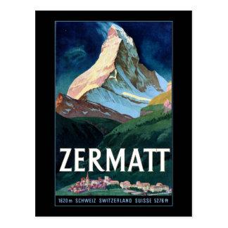 Vintage Zermatt Swizerland Matterhorn Travel Postcard