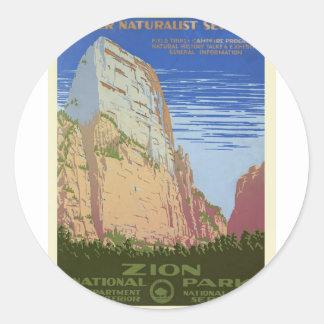 Vintage Zion Park Classic Round Sticker