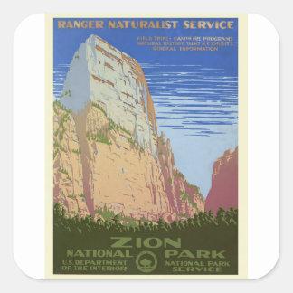 Vintage Zion Park Square Sticker