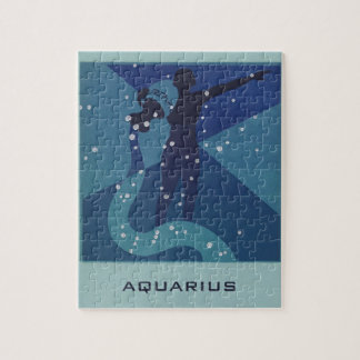 Vintage Zodiac Astrology, Aquarius Constellation Jigsaw Puzzle