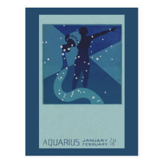 Vintage Zodiac Astrology, Aquarius Constellation Postcard