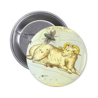 Vintage Zodiac, Astrology Aries Ram Constellation 2 Inch Round Button