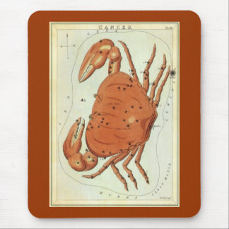 Vintage Zodiac Astrology Cancer Crab Constellation Mouse Pad