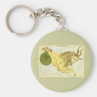 Vintage Zodiac, Astrology Capricorn Constellation Basic Round Button Keychain