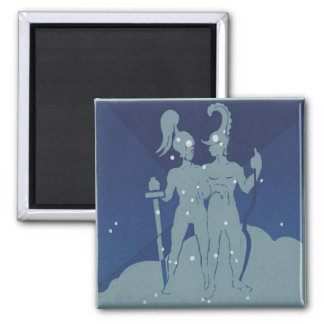 Vintage Zodiac Astrology Gemini Twin Constellation Square Magnet