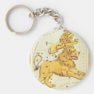 Vintage Zodiac, Astrology Leo Lion Constellation Basic Round Button Keychain
