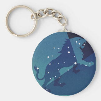 Vintage Zodiac Astrology Leo Lion Constellation Basic Round Button Keychain