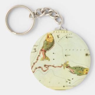 Vintage Zodiac Astrology Pisces Fish Constellation Basic Round Button Keychain
