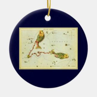 Vintage Zodiac Astrology Pisces Fish Constellation Ceramic Ornament