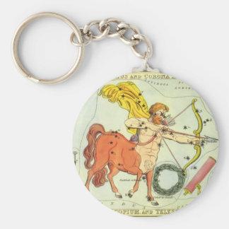 Vintage Zodiac Astrology Sagittarius Constellation Basic Round Button Keychain