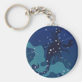 Vintage Zodiac Astrology, Scorpio Constellation Basic Round Button Keychain