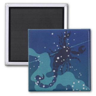 Vintage Zodiac Astrology, Scorpio Constellation Square Magnet