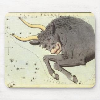 Vintage Zodiac Astrology Taurus Bull Constellation Mouse Pad