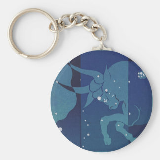 Vintage Zodiac Astrology, Taurus Constellation Basic Round Button Keychain