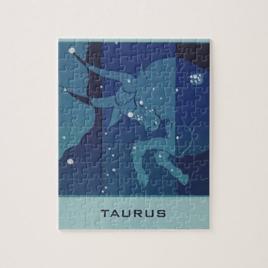 Vintage Zodiac Astrology, Taurus Constellation Jigsaw Puzzle