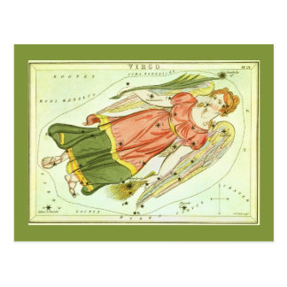 Vintage Zodiac Astrology Virgo Constellation Postcard