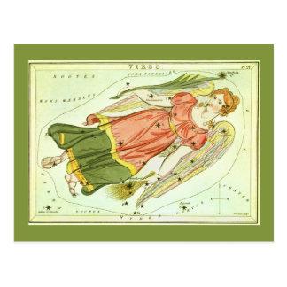 Vintage Zodiac Astrology Virgo Constellation Post Card