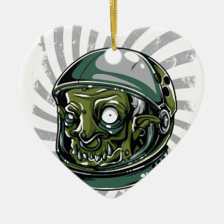 vintage zombie scary face ceramic ornament