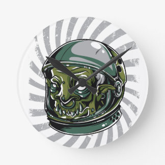 vintage zombie scary face round clock
