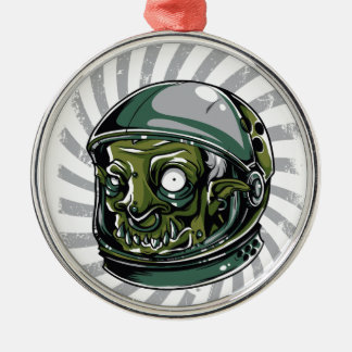 vintage zombie scary face Silver-Colored round ornament