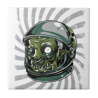 vintage zombie scary face tile