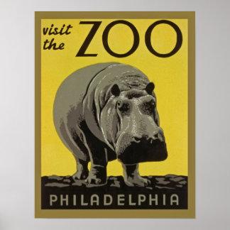 Vintage zoo poster Philadelphia with Hippopotamus
