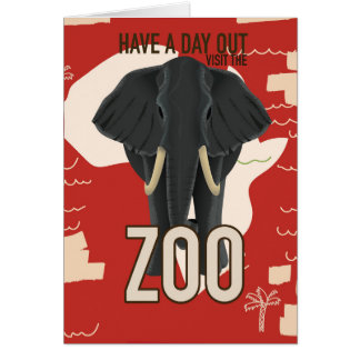 vintage Zoo travel poster Card