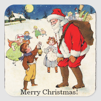 VintageMerry Christmas, Santa and Children Sticker