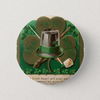 VintageSaint Patrick's day shamrock erin go bragh 2 Inch Round Button