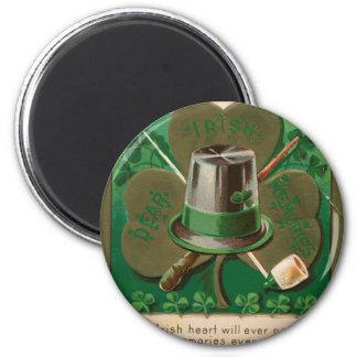 VintageSaint Patrick's day shamrock erin go bragh 2 Inch Round Magnet
