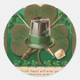 VintageSaint Patrick's day shamrock erin go bragh Classic Round Sticker