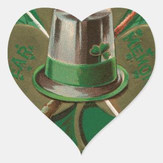 VintageSaint Patrick's day shamrock erin go bragh Heart Sticker