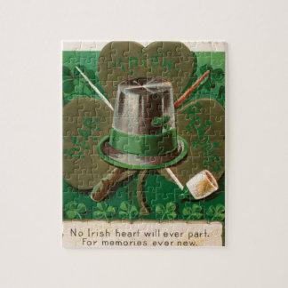 VintageSaint Patrick's day shamrock erin go bragh Jigsaw Puzzle