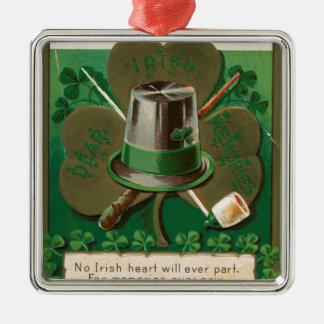 VintageSaint Patrick's day shamrock erin go bragh Metal Ornament