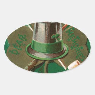 VintageSaint Patrick's day shamrock erin go bragh Oval Sticker