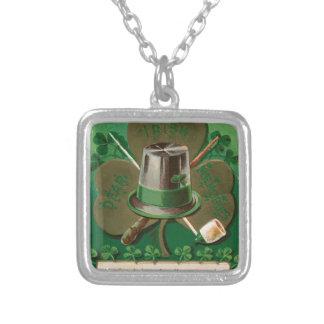 VintageSaint Patrick's day shamrock erin go bragh Silver Plated Necklace