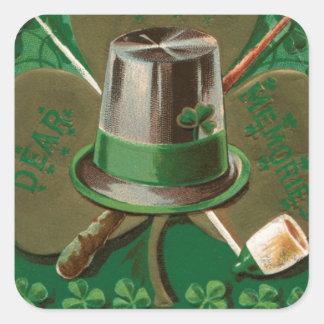 VintageSaint Patrick's day shamrock erin go bragh Square Sticker
