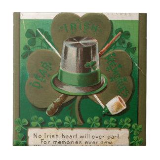 VintageSaint Patrick's day shamrock erin go bragh Tile